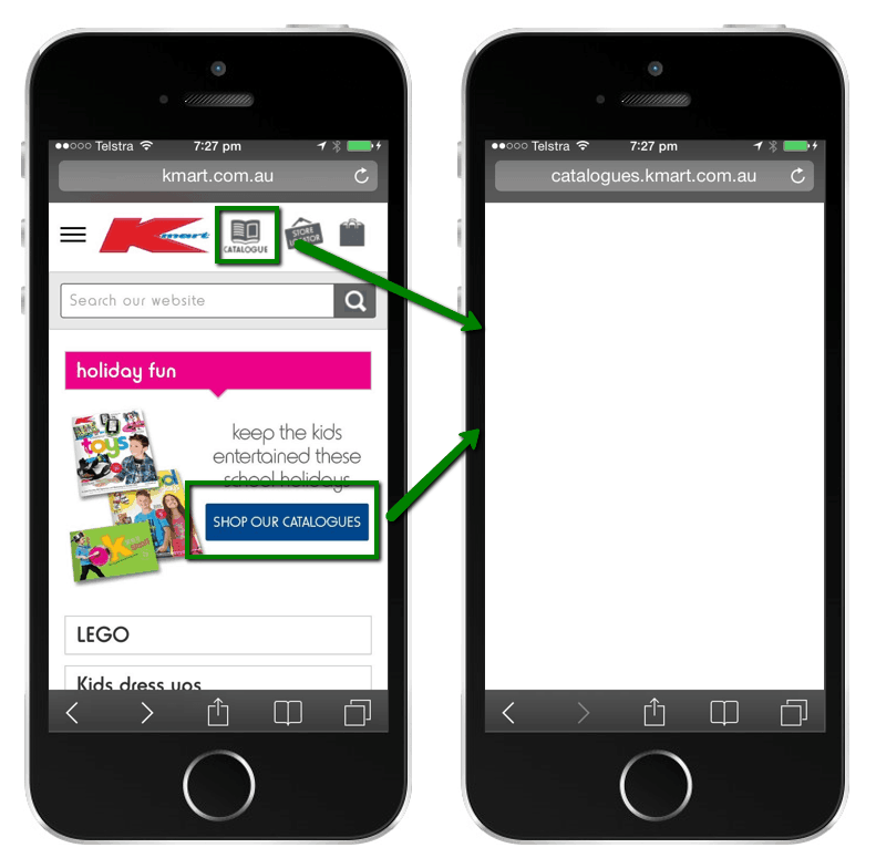 Kmart mobile site with large image promoting catalogues and menu section with catalogues link. Both links go to an empty page