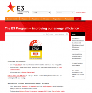 Old Energy Rating site, with a large red banner and very little imager