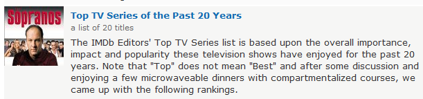 Sopranos top tv series listing article